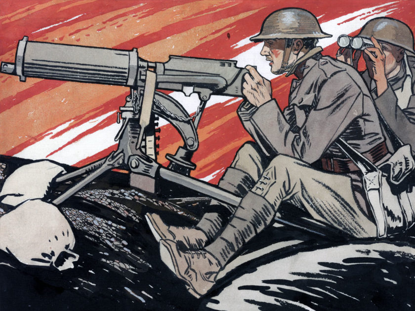 detail of world war I military poster of doughboys library of congress collection