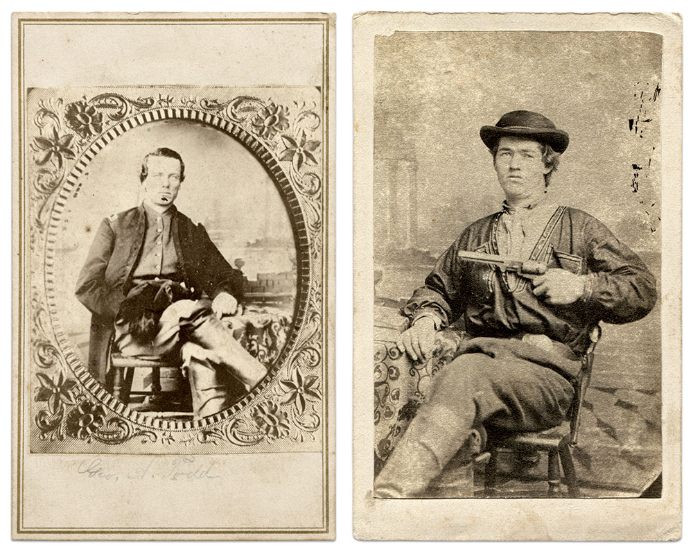 Two unpublished views of four known images of Quantrill's raiders taken by Saunders in Lexington. The copy print portrait of George M. Todd, far left, (1839-1864) was found in an album containing images of the 12th Missouri Cavalry (Confederate). This is the earliest known version of the Todd image, picturing the original mat and light eyes, untouched in other copies to locate his pupils. The second image is believed to be Clark Hockensmith, who was killed in action in an unsuccessful effort to save Quantrill from death during a May 1865 raid by Union troopers at Wakefield's Farm, Ky. The Hockensmith image was discovered in California, a fitting location as guerrilla action in Missouri was a precursor to later lawless activities on the American Frontier—popularly known as the Wild West. Collector Charles Orear, a descendant of Hockensmith, helped identify the Hockensmith portrait and discovered the Todd portrait.