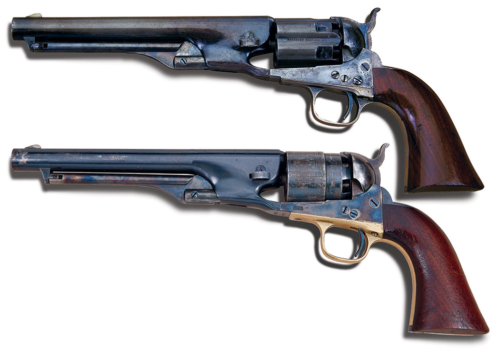 The fluted (top) and non-fluted, or rebated, 1860 Army Colts. ©️Paul Goodwin Creative Services.