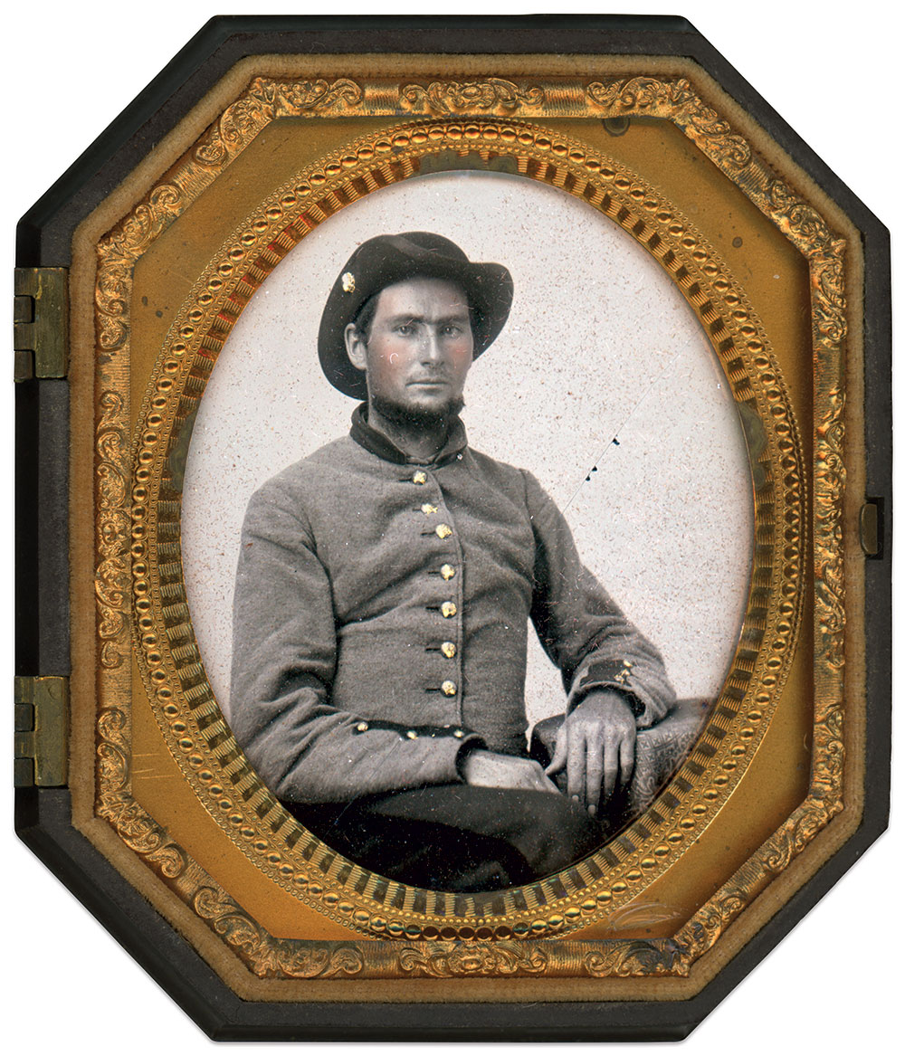 Southern soldier dressed in uniform consistent with Georgia troops. Sixth-plate tintype by an unidentified photographer. Brad Birch Collection.