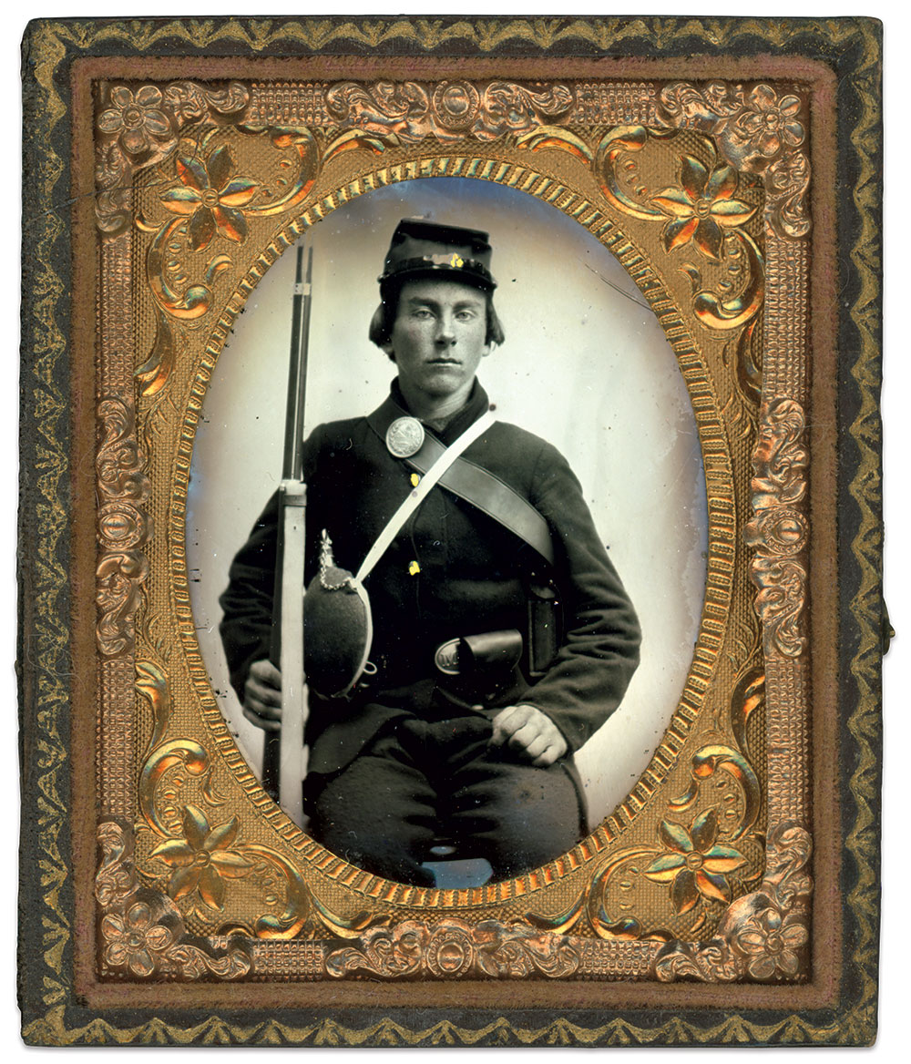 Union soldier with Ohio breastplate. Sixth-plate tintype by an unidentified photographer. Rande Young Collection.