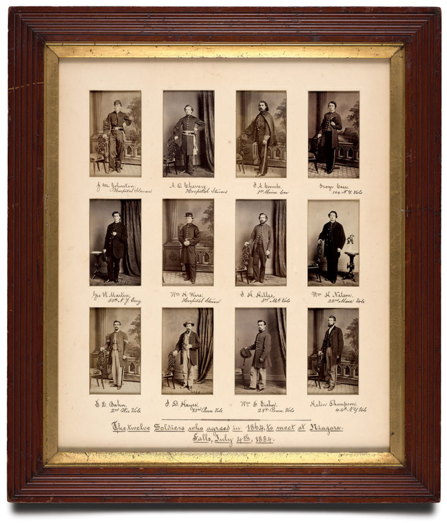 COMPACT SIGNERS: The citizen soldiers who pledged to meet at Niagara Falls in 1884 as they appeared in 1864 at the U.S. Army General Hospital in York, Pa. The portraits, cartes de visite produced in the York gallery of Evans & Prince, are arranged in the order they signed the document. Author's collection.