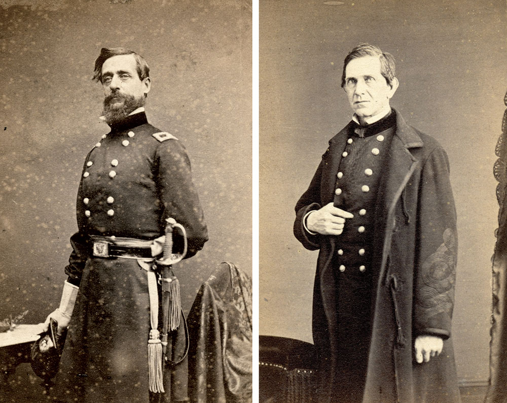 DOING WHAT GRANT COULD NOT: An August 1864 inspection by District of Vicksburg commander Maj. Gen. Napoleon J.T. Dana, left, found the Brigade understrength. The report prompted Maj. Gen. Edward R.S. Canby, right, to dissolve the Brigade. Tom Glass Collection.