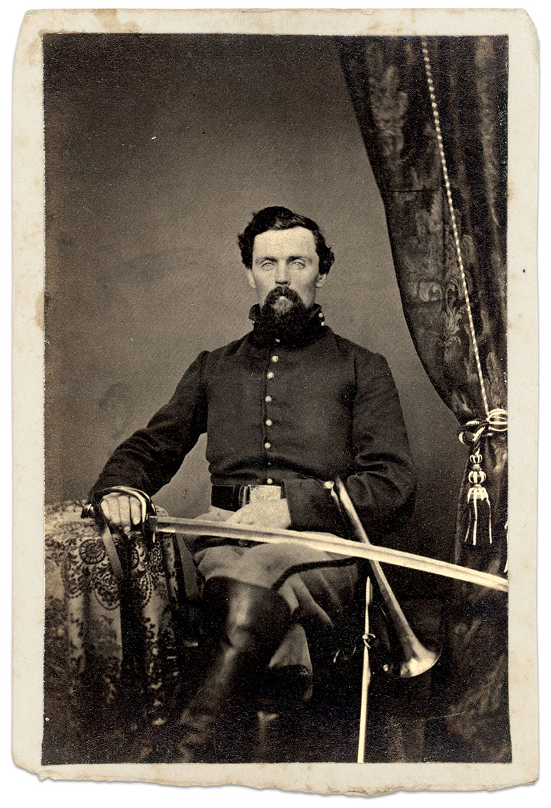 Farnsworth pictured as a musician in early 1862, when he and the 10th were stationed in Gettysburg, Pa. Carte de visite by Tyson Brothers of Gettysburg, Pa. Kyle M. Stetz Collection.
