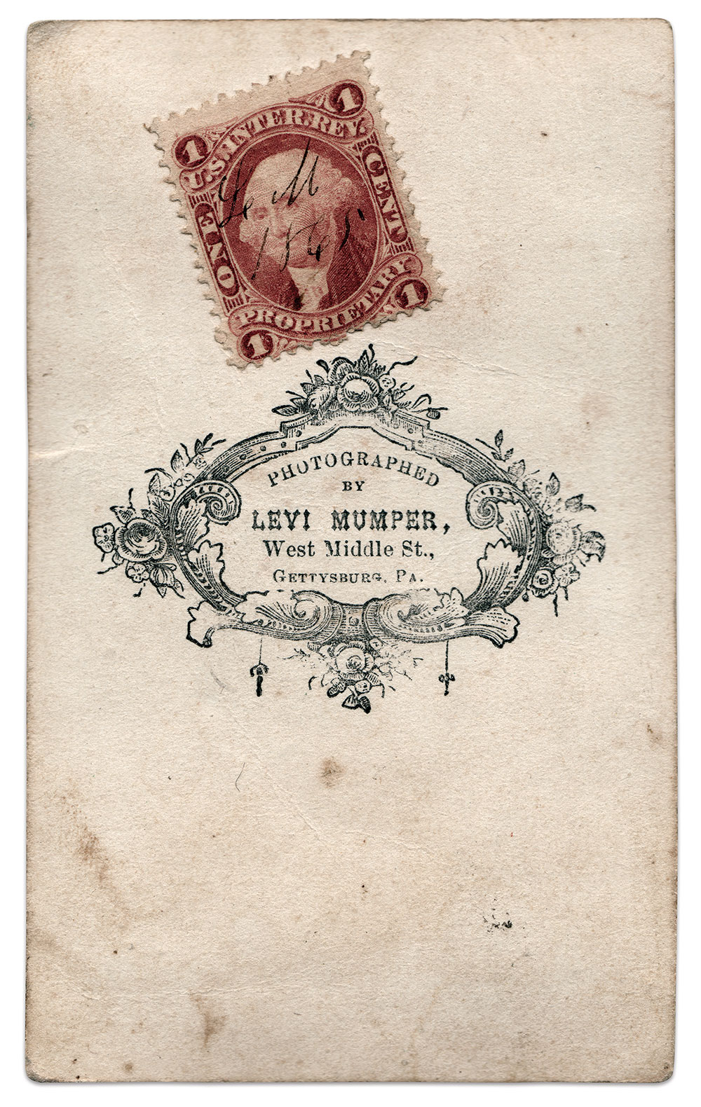 Mumper's imprint, and a tax stamp hand-cancelled with his initials and 1865 date on the back of the carte de visite mount. Author's Collection.