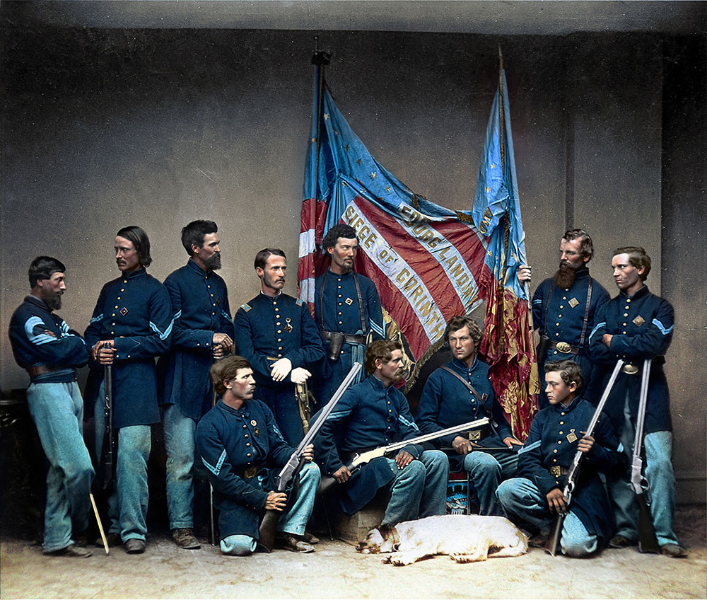 Soldiers of the 7th Illinois Infantry with Henry rifles, from the Illinois State Historical Society.