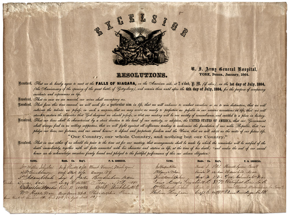 SOLEMN PLEDGE: This printed set of resolutions signed by each member turned up in a York antique shop in 1976. It is the only known copy of The Compact, and may have been the same document displayed at the 1884 reunion. Note the addition of the death citation for Sgt. George Case, who succumbed to consumption in 1865. From the collection of the York County History Center, York, Pa.