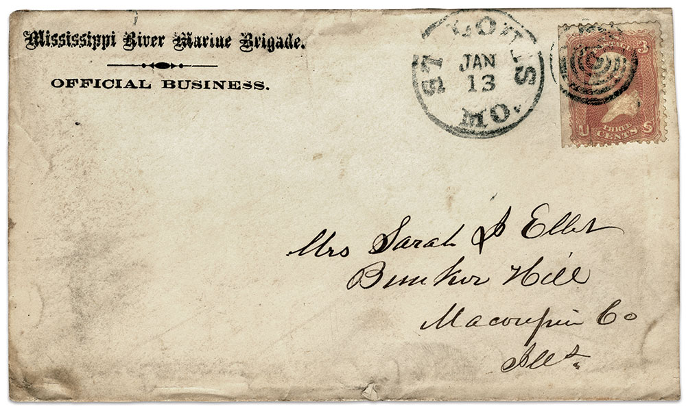 OFFICIAL BUSINESS: This MMB-marked envelope is addressed to Brig. Gen. Ellet's wife, Sarah. Ron Field Collection.