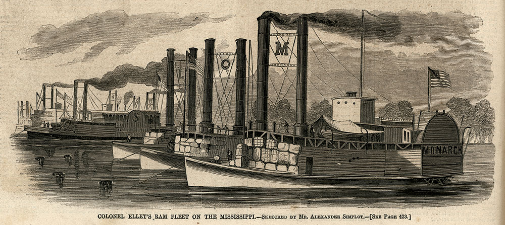 """RAM TOUGH: """"Colonel Ellet's Ram Fleet on the Mississippi"""" appeared in the July 5, 1862, issue of Harper's Weekly."""