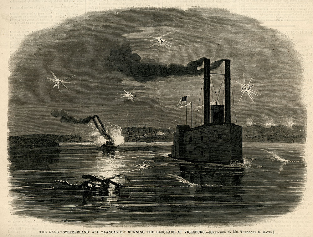 CHALLENGING THE DEFENDERS OF VICKSBURG: Two of Ellet's Rams, the Switzerland and the Lancaster, running the gauntlet of Confederate guns in early 1863.