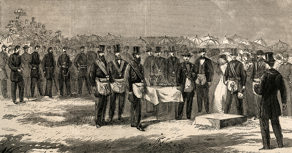 """The July 22, 1865, issue of Harper's Weekly included this depiction of """"Laying the corner-stone of the Soldiers' Monument at Gettysburg."""" The illustration was based on a photograph by Alexander Gardner."""