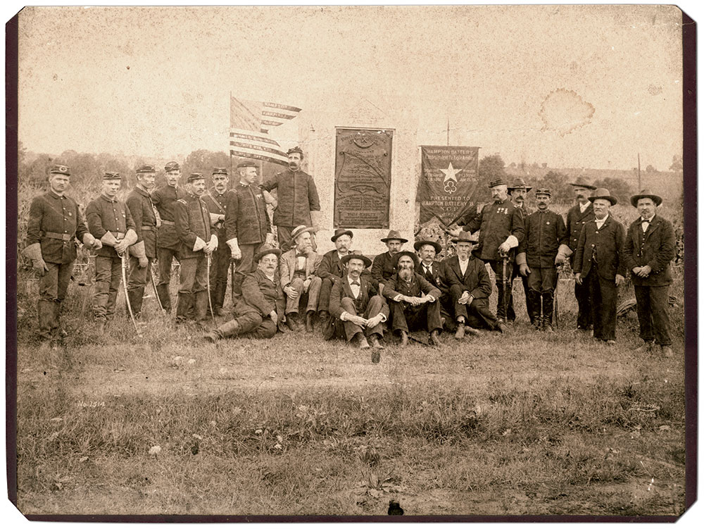 """""""Unidentified Civil War veterans of Battery F Pennsylvania Independent Light Artillery, Hampton's Battery, at the monument to the combined C & F batteries, Gettysburg."""" Albumen print by W.H. Tipton of Gettysburg, Pa. The Liljenquist Family Collection at the Library of Congress."""