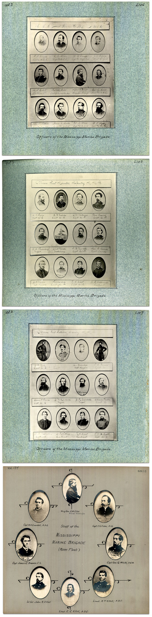 MMB LEADERSHIP: These album pages from the Military Order of the Loyal Legion of the United States (MOLLUS) Massachusetts Commandery collection document the men who led the Brigade. U.S. Army Heritage and Education Center.