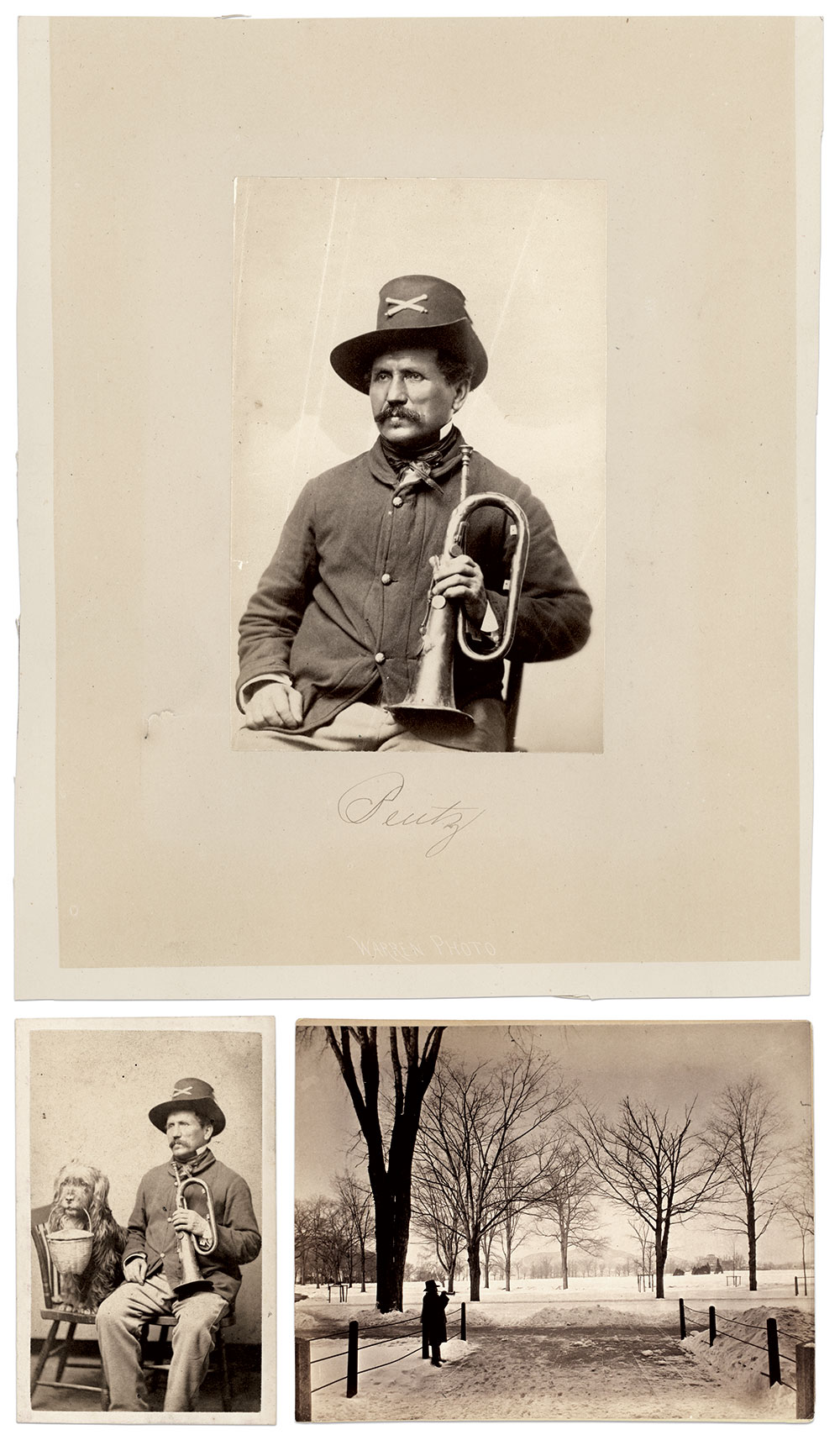 Clockwise from top: Bentz on the grounds of West Point towards the end of his storied career. Albumen print by an unidentified photographer. Buck Zaidel Collection; Bentz. Albumen print by an unidentified photographer. Chris Nelson Collection. Bentz and Hans, circa 1865. Bentz holds a B-flat keyed bugle, which, by the time of the Civil War, was no longer a standard band instrument. The crossed cannons insignia on his hat marks his membership in the artillery. Carte de visite by Warren of Cambridgeport, Mass. Chris Nelson Collection.