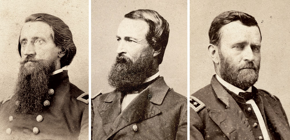 COLLABORATION: Charles' brother, Brig. Gen. Alfred W. Ellet, left, and Acting Rear Adm. David D. Porter, center, coordinated their efforts despite ambiguity from the War Department. Maj. Gen. Ulysses S. Grant, right, preferred that the MMB be part of the Navy instead of an independent command. Author's collection (Ellet) and Tom Glass Collection.